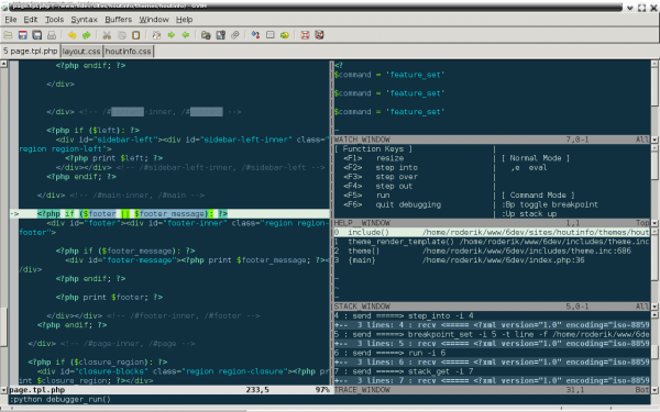 vim window with debug session halted at breakpoint
